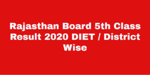 Rbse 5th Time Table 2020